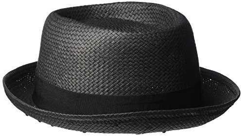 French Connection Women's Straw Pork Pie Hat, Black/Black, One Size