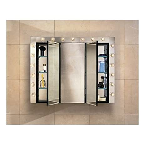 Robern PLM3630E 36u0026quot; Triple Door Mirrored Medicine Cabinet With Electrical  Outlet, ...
