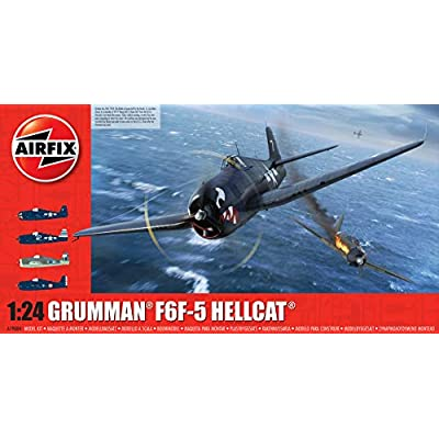 Airfix Grumman F6F-5 Hellcat 1:24 WWII Military Aviation Plastic Model Kit A19004, Unpainted: Toys & Games