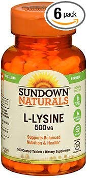 Sundown Naturals L-Lysine 500 mg Tablets - 100 ct, Pack of 6 by Sundown Naturals