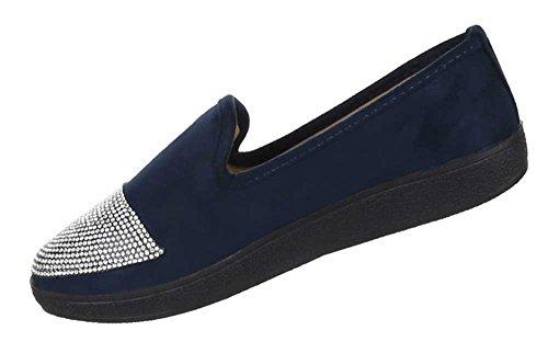 Damen Schuhe Halbschuhe Super Bequeme Slipper Ballerinas Schlupfschuhe Blau