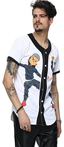 Baseball Jersey Coat (Pizoff Unisex Hipster Casual Jersey Top Open T Shirt Cardigan Dancer Print Buckle Sport Baseball Coat Y1724-6-XL)