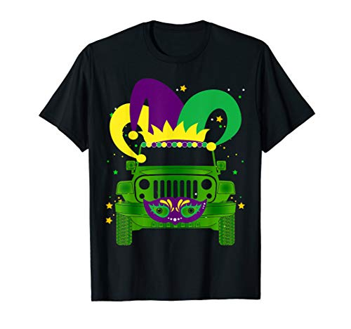 Mardi Gras Hat Mask Jeep-TShirt Jeep-Lovers Gift Adults Kids