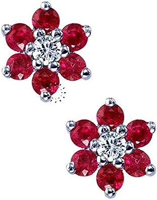Pendientes de Oro Blanco de 18 quilates SAVVIDIS con Diamantes y Rubies