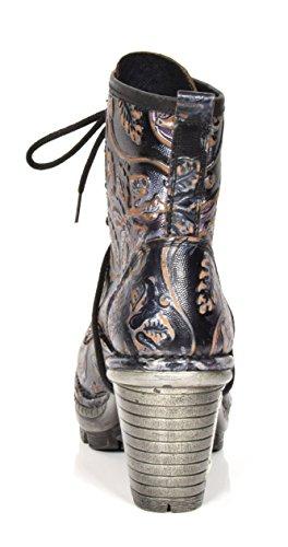 Femmes En La Cheville Réelle D'impression Lacées Nouvelles Bloc Paisley Chaussures Rock Bottes À Cuir Talon gqUROdw