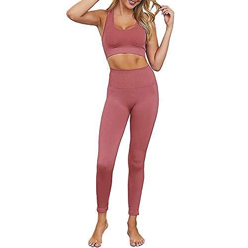 RILISCION Athletic Outfits 2 Piece Workout Sets for Women High Waist Yoga Leggings and Sports Bra Tracksuit Gym Clothes