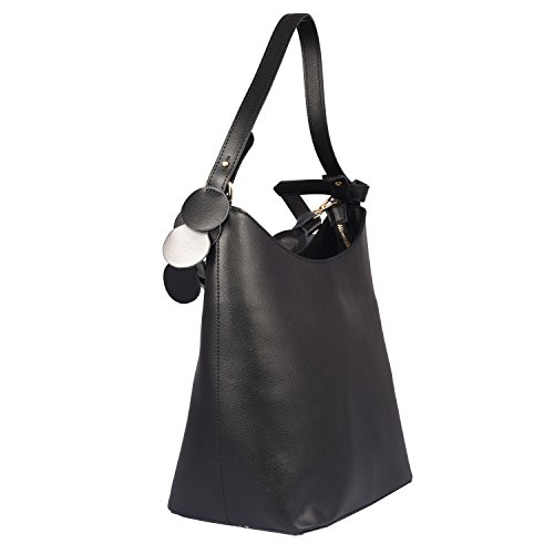 Conti of Tuscany Borsa Shopper In Vera Pelle - Tuby Nero