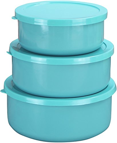 (Calypso Basics by Reston Lloyd 6-Piece Enamel on Steel Bowl/Storage Set, Turquoise)