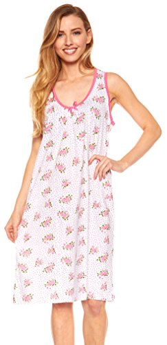 Trulee Womens Scoop Neck Night Gown | 100% Cotton Pajamas & Sleepwear | Knee Length Nightshirt