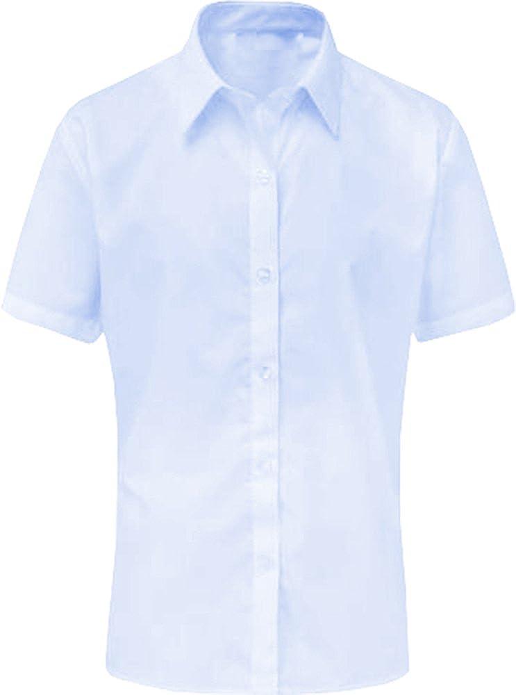 Onlyglobal Girls Short Sleeve Blouse Shirt School Uniform White Sky Blue