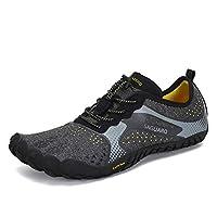 Mens Womens Barefoot Gym Walking Trail Beach Hiking Wide Toe Box Water Shoes Aqua Sports Pool Surf Waterfall Climbing Quick Dry Black 9.5 M US Women / 8 M US Men