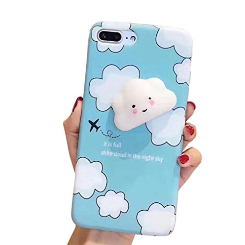 Case For OnePlus 5, QKKE 3D Poke Squishy Cat Seal Panda Polar Bear Squeeze Stretch Compress Stress Reduce Relax Soft Silicone Relief Case for OnePlus 5 (Cloud Blue) ()
