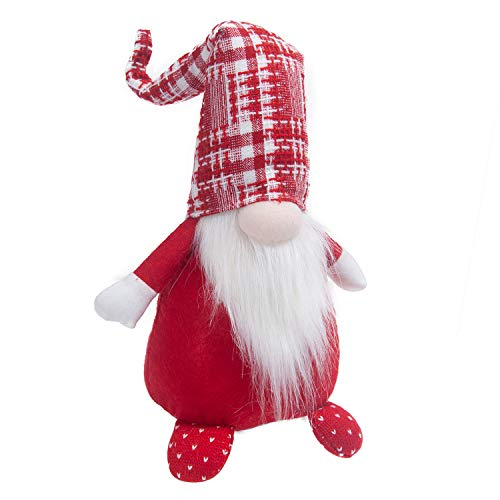 GMOEGEFT Handmade Gnome Plush Figurines, Swedish Tomte Tartan Hat for Birthday Gift, Holiday Party Home Décor, 17 Inches (Red Plaid)