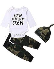 "Newborn Baby Boy Clothes Infant Clothes Bodysuit ""New to The Crew"" Letter Print Romper + Long Pants with Hat 3Pcs Sets"