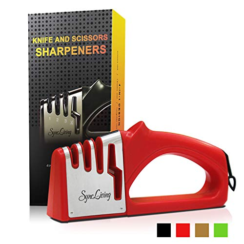 - Sync Living Knife and Scissor Sharpeners,4 Stage Knife Sharpener, 4-in-1 Knife and Scissors Sharpener with Diamond, Ceramic, Tungsten, Kitchen Tools for Kinds of Knives, Red