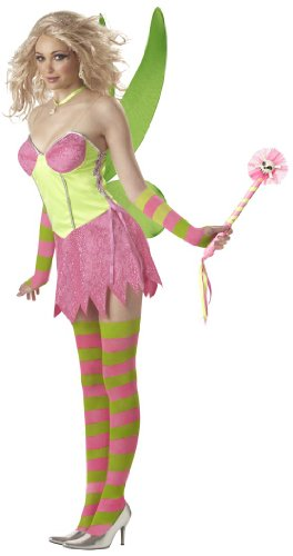[Tinkerbell Fairy (Pink/Green) Adult Costume Size 6-8 Small] (Adult Tinkerbell Fairy Costumes)