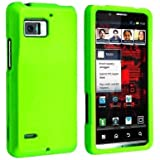 Importer520 Snap-on Rubber Coated Case Compatible with Motorola Droid Bionic XT875, Neon Green