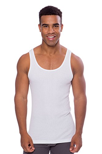 Texere Men's Bamboo Viscose Ribbed Tank (Remie, Natural White, XL) Xmas Gift