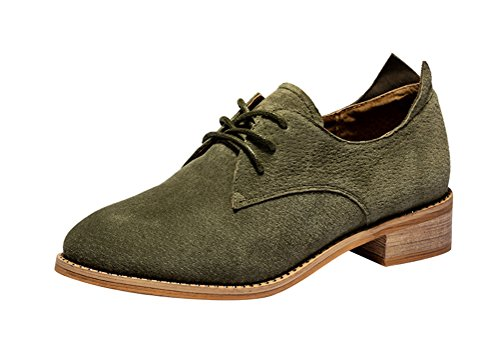 Passionow Women's Comfort Lace Up Low Chunky Heel Low Top Suede Casual Oxfords Shoes (7.5 (Doc Holiday Costume For Sale)