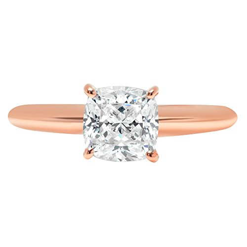 Cushion Brilliant Cut Classic Solitaire Designer Wedding Bridal Statement Anniversary Engagement Promise Ring Solid 14k Rose Gold, 1.7ct, 7.5 by Clara Pucci