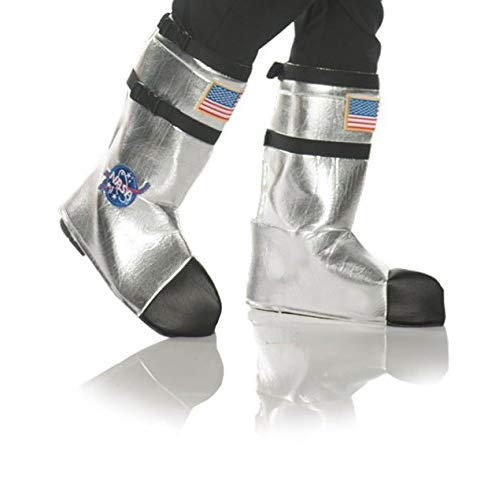 Silver Costume Boots (Underwraps Unisex Adult Astronaut Boot Top Covers Costume-Silver, One)
