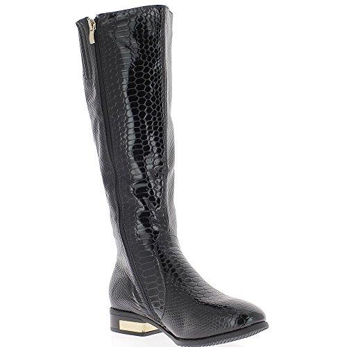 Bridleways nero stivali con tacco 3cm aspetto croco