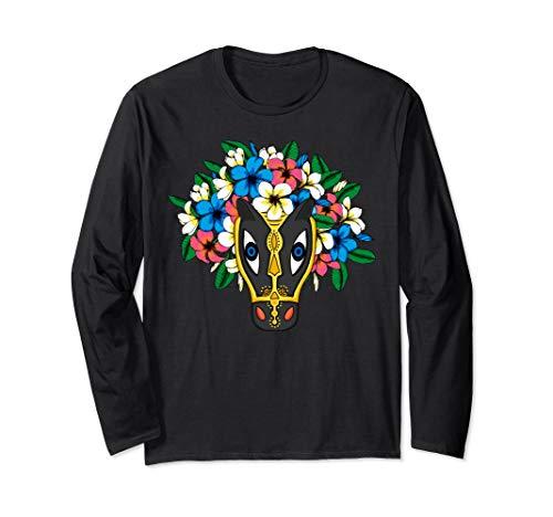 Mask and flowers, Latin, Illustration, Art Shirt, Horse Head Long Sleeve T-Shirt