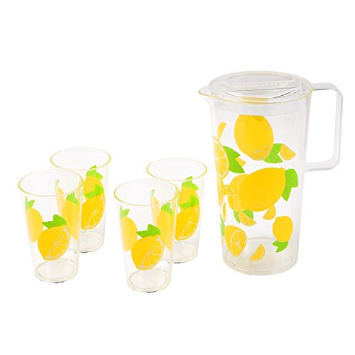 Sunnylife Decorative Party Drinkware Set - 2L Pitcher Jug & 4 Cups - Lemon (Lemonade Set)