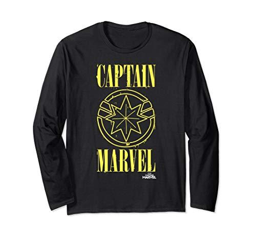 Captain Marvel Yellow Paint Drip Logo Long Sleeve Tee ()