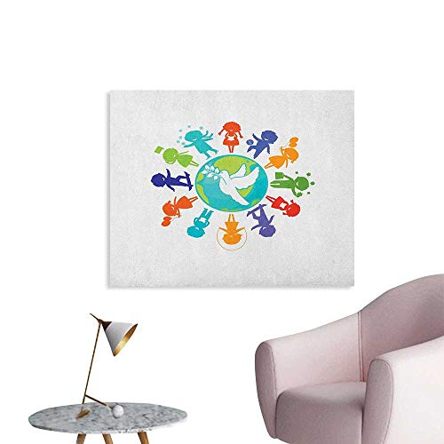 Anzhutwelve Youth Art Decor Decals Stickers Cute Children Silhouettes Around The World with Pigeon Symbol of Peace Earth Planet Wall Poster Multicolor W28 xL20 ()