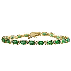 Y/Gold Green Emerald and Diamonds Tennis Bracelet