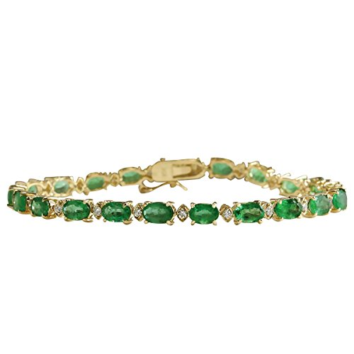 8.86 Carat Natural Green Emerald and Diamond (F-G Color, VS1-VS2 Clarity) 18K Yellow Gold Tennis Bracelet for Women Exclusively Handcrafted in USA