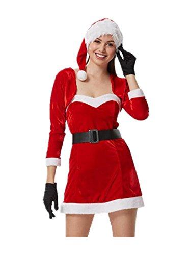 Leright Womens Christmas Costumes Long Sleeve Santa Holiday Lingerie Costume