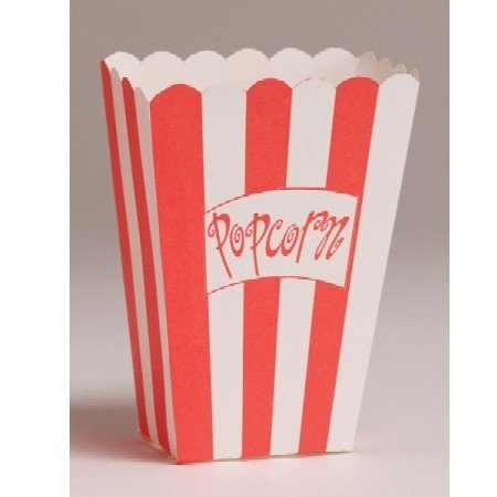 Reel Hollywood Small Popcorn Buckets - Movie Theater Red and White Striped, Theater Style Plastic Popcorn Tubs, Great for Movie Night, 3.75 x 5.25 Inches - 8 Pack