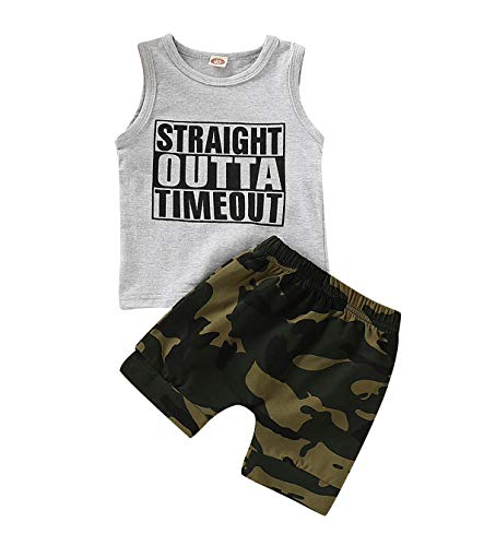 AR-LLOYD Baby Boys Shorts Sets Infant Boy Straight Outta Timeout Vest + Camouflage Shorts Outfit Set (Grey, 18-24months)