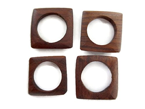 (Hand Carved Natural Teak Wood Ring/Bead, Brown Wooden Square Ring, Wooden Jewelry Supplies, GDS1045/4 (50 Pieces) )