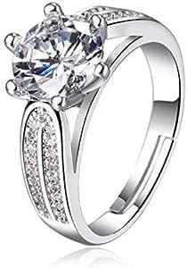 JRosee سواروفسكي عنصر خاتم الخطوبة الزفاف للنساء قابل للتعديل الحجم