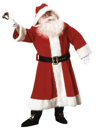 Man Old Costume Rich (Rubie's Plush Old-Time Santa Coat With Hood, Red/White, One Size)