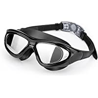 Premium Big Frame Competition Swim Goggles with FREE Protective Case - EveShine Pro Clear Lens & Wide-vision Swimming Goggles with UV and Anti Fog Protection for Adult Youth Men Women ¡