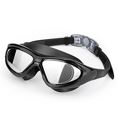 EveShine Premium Big Frame Competition Swim Goggles with Free Protective Case Pro Clear Lens & Wide-Vision Swimming Goggles with UV and Anti Fog Protection for Adult Youth Men Women - Iron Leaf Sphere