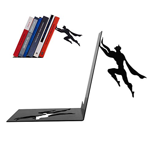 LUCKSTAR Superman Bookend - Superhero Bookend Black Metal Unique Bookends Cool Book Stopper Bookend Supports Gifts for Geeks Book Lovers (Unique Superhero Gifts)