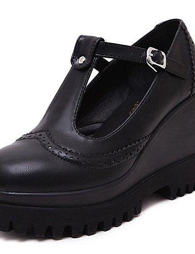 GGX/ Damen-High Heels-Outddor-Kunstleder-Keilabsatz-Wedges-Schwarz black-us6 / eu36 / uk4 / cn36