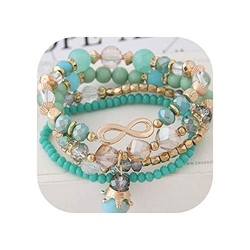 (Bohemian Multilayer Crystal Beads Bracelets & Bangles 8 Infinity Crown Charm for Women Gift,Green)