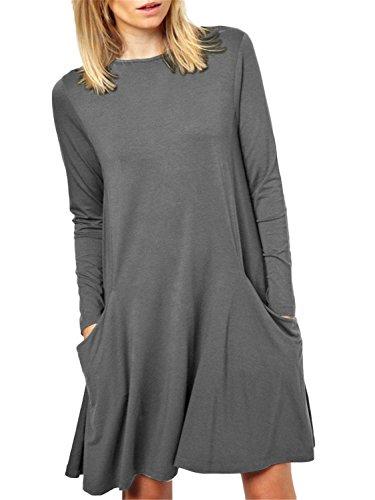 Women's Long Sleeve Pockets Casual Swing Plain T-shirt Dress,Grey,Medium