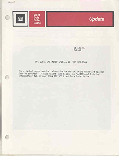 1986 GMC Ducks Unlimited Suburban Dealer Order Form Bulletin Brochure