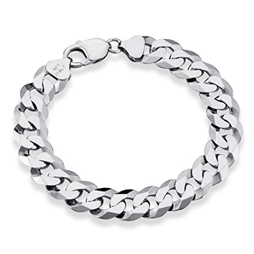 (MiaBella 925 Sterling Silver Italian 12mm Solid Diamond-Cut Cuban Link Curb Chain Bracelet, 8