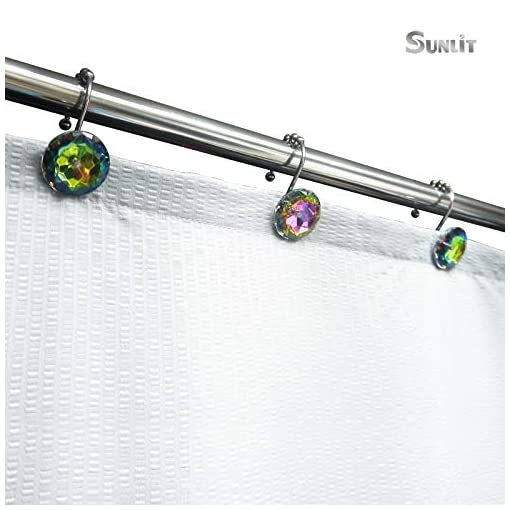 Pink Shark Shower Curtain Hooks Rings Rust Proof Bathroom Decorative Made of Crystal Glass and Stainless Steel Set of 12
