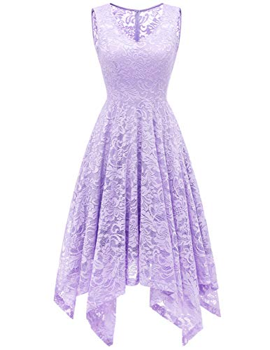 Meetjen Women's Elegant Floral Lace Sleeveless Handkerchief Hem Asymmetrical Cocktail Party Swing Dress Lavender M