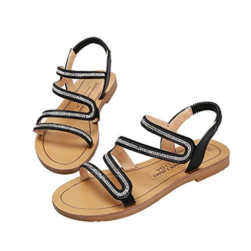 Summer Women' Flat Sandals,Casual Open-Toe Ankle Strap Elastic Shoe Rhinestone Beach Sandal Black
