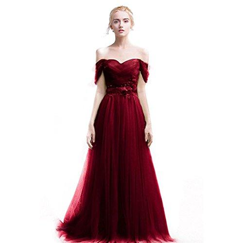Herz Auschnitt Abendkleid Linie kleid Burgund Burgund Langes Prom Tüll Ballkleider Elegantes Brautjungfer Aiyana A w0XIxR